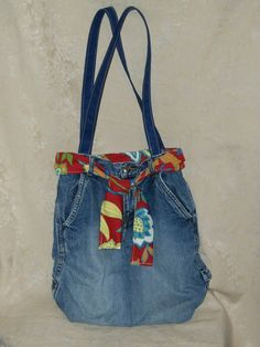 Recycled Jeans Denim Tote Shoulder Bag with Tie by Teresaspurses, $35.00