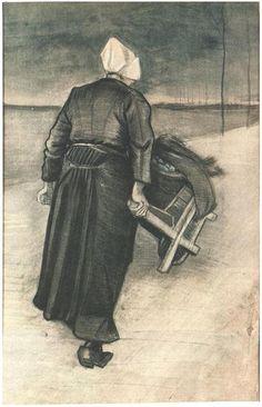 Vincent van Gogh: Scheveningen Woman with Wheeelbarrow. Watercolor - Pencil, watercolour. The Hague: May, 1883 Kröller-Müller Museum: Otterlo, The Netherlands - #art
