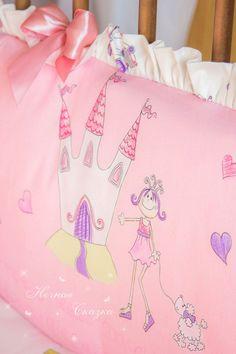 """Бортики в детскую кроватку, бампер """"Маленькая принцесса"""" - розовый,бортики в кроватку"""