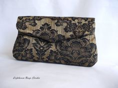 READY TO SHIP !! Bridesmaid  Wedding Clutch  Black Damask on by Lighthousebags, $150.00