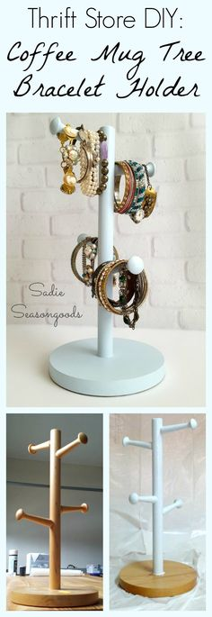 Want an easy, inexpensive DIY repurpose / upcycle project that won't break the bank? Head to a thrift store, grab a wood coffee mug tree, give it a quick colorful makeover, and use it to store, organize, hold, and display all of your bracelets? It's a simple project that acts as great jewelry organization! Your cuffs, bangles, and charm bracelets can be organized and stored in one easy (and attractive) place. #SadieSeasongoods / www.sadieseasongoods.com