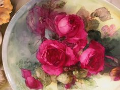 """""""STUNNING VICTORIAN ROSES"""" Absolutely Gorgeous Large 15 1/4"""" Antique Hand Painted Limoges France Serving Tray Charger Plaque Plate Vintage Victorian Heirloom Floral Art China Painting Original ONE-OF-A-KIND Handmade Artistry Fine French circa 1900"""