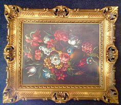 Greystone Fine Furniture - Antique Original Still Life Floral in Ornate Gold Frame $65