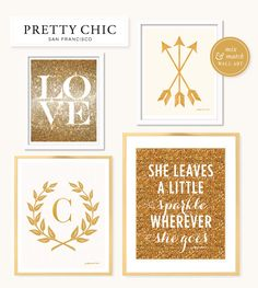 She Leaves a Little Sparkle and Gold Wall Decor by Pretty Chic SF.