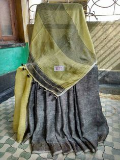 Linen sarees with pompom Bottom left corner is the blouse Price,:2599 Order what's app 7995736811