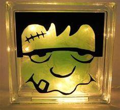 Frankenstein Lighted Glass Block Halloween Decoration