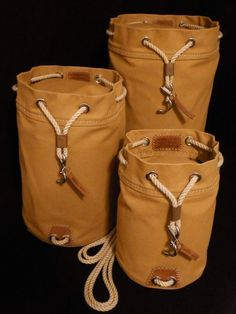 Rum Runner Seabag Set - 3 Bags shown in Nutmeg (Standing Upright) Duffel Bag, Backpack Bags, Canvas Leather, Leather Bag, Leather Projects, Leather Working, Leather Craft, Backpacks, Mens Fashion