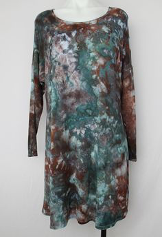 $64 - Tie Dyed Tunic dress Ice Dyed size Medium  by ASPOONFULOFCOLORS Find this item on https://www.etsy.com/shop/ASPOONFULOFCOLORS?ref=hdr_shop_menu