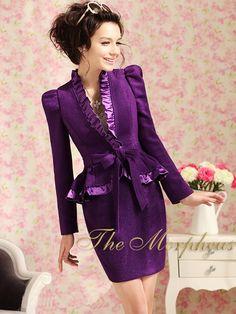 Morpheus Boutique  - Purple Ruffle Collar Shoulder Designer Vintage Lady Bow Pleated Jacket, $99.99 (http://www.morpheusboutique.com/products/purple-ruffle-collar-shoulder-designer-vintage-lady-bow-pleated-jacket.html)
