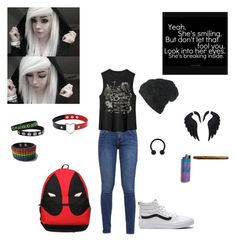 """""""sad bean💙"""" by babymissgoddess ❤ liked on Polyvore featuring s.Oliver, Vans, Black and Marvel Comics"""