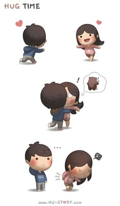 I get too excited to hug her sometimes T_T For more comic on love and relationship, check out my friend's illustrations: Facebook.com/...