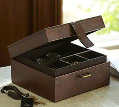 Saddle Leather Square Jewellery Box - Pottery Barn