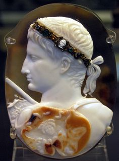 Cameo portrait of the Emperor Augustus, (about 14 BCE) on display at the British Museum