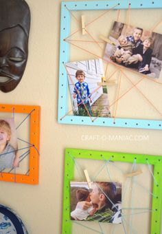 Kids Craft Ideas // DIY string art photo frames