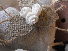 Sweet little burlap flowers