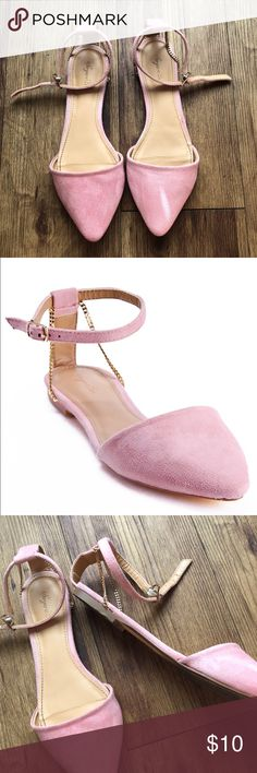 Sergio Bari baby pink ballet flats shoes 6.5 Worn twice. Size 6.5. Suede like upper. Pink with gold chains. Sergio Bari Shoes Flats & Loafers