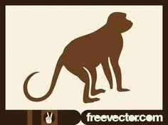 Monkey Free Vector Silhouette Clip Art, Animal Silhouette, Primates, Mammals, Free Vector Images, Vector Free, Cartoon Monkey, Zoo Animals, Exotic Pets