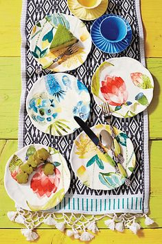 Garden Buzz Dessert Plate, the watercolors are gorgeous  #Anthropologie #PinToWin
