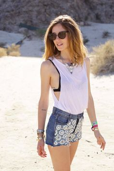 Coachella Day 2 ( Floral Denim Shorts & Chiffon Tulle Tanks )