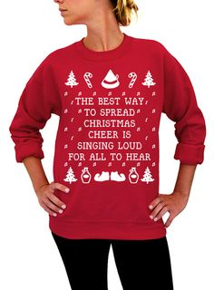 """Use coupon code """"pinterest"""" Best Way To Spread Christmas Cheer -  Ugly Christmas Sweater - Red Unisex Crew Neck by DentzDesign"""