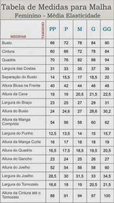 Esta tabela deve ser usada para roupas de malha justa ao corpo e para malha com média elasticidade.