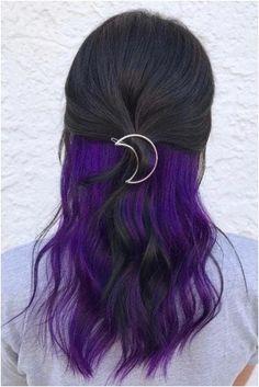 Purple Peekaboo Hair, Purple Peekaboo Highlights, Purple Brown Hair, Brown Hair Cuts, Hair Color Purple, Brown Hair With Highlights, Light Brown Hair, Pink Hair, Burgundy Hair