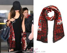 A fresh-faced Selena Gomez was spotted leaving LAX Airport on her return home from her concert in Dubai. She accessorised her all black look with a River Island Floral Print Lightweight Scarf. Selena Gomez Closet, All Black Looks, Fresh Face, Celebrity Outfits, Alexander Mcqueen Scarf, Kimono Top, Celebrities, Hollywood Style, Clothes
