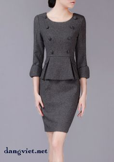Đầm Peplum tay lỡ kết nút DL429 Stylish Work Outfits, Office Outfits, Winter Dresses For Work, Fashion 101, Womens Fashion, Suits For Women, Clothes For Women, Corporate Attire, Mode Chic