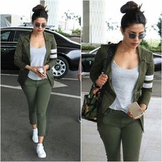 The stylish, classy and cool casual outfits look of Bollywood divas. / Airport style / casual outfits ideas / Inspirational outfits ideas by Bollywood. Priyanka Chopra, Shraddha Kapoor, Ranbir Kapoor, Deepika Padukone, Girl Fashion, Fashion Outfits, Travel Outfits, Travel Fashion, Fashion Styles
