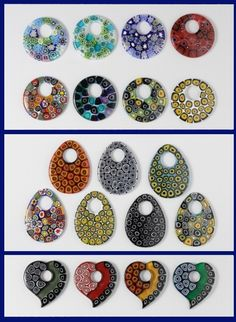 #Murrine Murano glass #pendants of modern taste, made of glass rod slices fused together. Are sold packaged with or without rubber string or waxed cotton. http://www.ercolemoretti.it