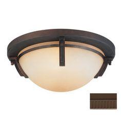 $167.10 Kendal Lighting 16-1/2-in Oil-Rubbed Bronze Art Glass Ceiling Flush Mount