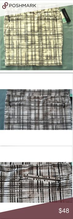 Stitch Fix Plaid Pencil Skirt w/ Zipper Accents Plaid White Skirt from Liverpool Jeans      Pocketless     Small Slit in Back     Zipper Accents     62% Rayon, 33% Nylon, 5% Spandex  Measurements  (Laying Flat) Waist: 37.00''    Length: 20.50'' Liverpool Jeans Company Skirts Pencil