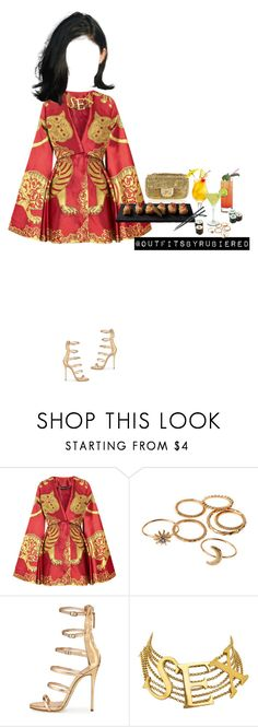"""Sex, Sushi, and Drinks."" by outfitsbyrubiered ❤ liked on Polyvore featuring Alexander McQueen, Chanel, Margarita, Giuseppe Zanotti and Dolce&Gabbana"