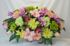 No. S0230 Spring Cemetery Flower Arrangement  , Headstone saddle, Grave,   Tombstone arrangement,  Cemetery flowers by AFlowerAndMore on Etsy