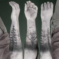 Trees forest black ink tattoo winter death birds                              …