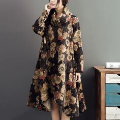 Black Printed Loose Cotton Dress