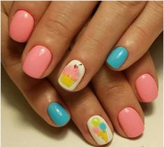 Beautiful summer nails, Blue gel polish, Ice-cream nails, Kid nails with pattern, Manicure by summer dress, Pale pink nails, ring finger nails, Shellac nails 2016