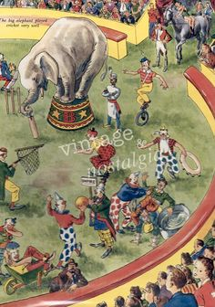 1940s CIRCUS illustration, Elephant vintage circus print circus party, kids bedroom decor. $14.95, via Etsy.