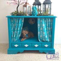 Turn an old vintage TV console cabinet into a posh pet bed