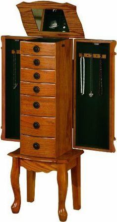 Coaster Traditional Jewelry Armoire, Oak by Coaster Home Furnishings, http://www.amazon.com/dp/B004T37AOS/ref=cm_sw_r_pi_dp_QoqUqb113P9M5