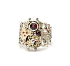 SIAM RED Steampunk Ring Steam Punk Ring by VictorianCuriosities