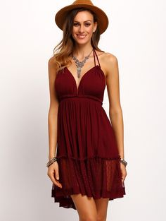 Online shopping for Burgundy Halter Backless Pleated Dress from a great selection of women's fashion clothing & more at MakeMeChic.COM.