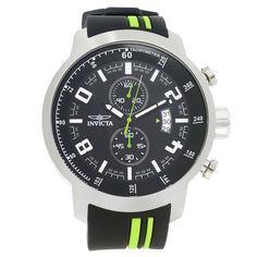 Invicta 20217 Men's S1 Rally Black Dial Black & Green Polyurethane Strap Chronograph Watch