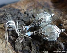 Dandelion Earrings, Victorian Style Earrings, Flower Earrings, Dangle Earrings, Vintage Style Earrings, Glass Orb Earrings,Dandelion Jewelry