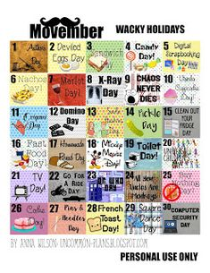 November is here and you know what t hat means: it's time for another edition of the Fun and Wacky Holidays Printable Sti ckers for your Pla. Silly Holidays, November Holidays, November Events, National Holiday Calendar, Printable Calendar Template, Printable Stickers, Free Printables, Clean Out, Holiday Planner