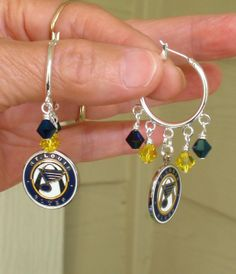 St Louis Blues Inspired Navy and Gold Crystal Hoop Earrings on Etsy, $19.00