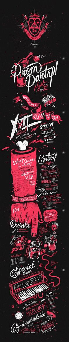 Typography & Lettering / DI Prom Party Vol. XII by Sindy Ethel & Alan Rodriguez (R3do) https://www.behance.net/gallery/19798535/Digital-Invaders-Prom-Party-Vol-XII