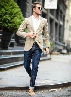 Blazer e jeans casual