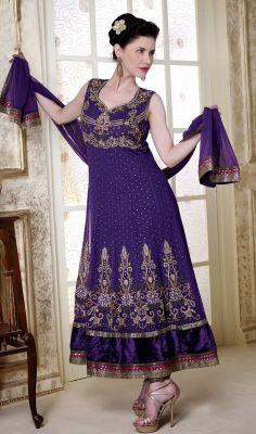 Deep Purple Net Long Length Anarkali Suit #Indianclothing-salwarkameez #Buy-AnarkaliSuit