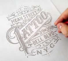 Mean Street Tattoo hand lettering by Mateusz Witczak for NYC Tattoo Parlour Calligraphy Letters, Typography Letters, Typography Logo, Graphic Design Typography, Typography Drawing, Logos, Graphic Posters, Types Of Lettering, Lettering Styles